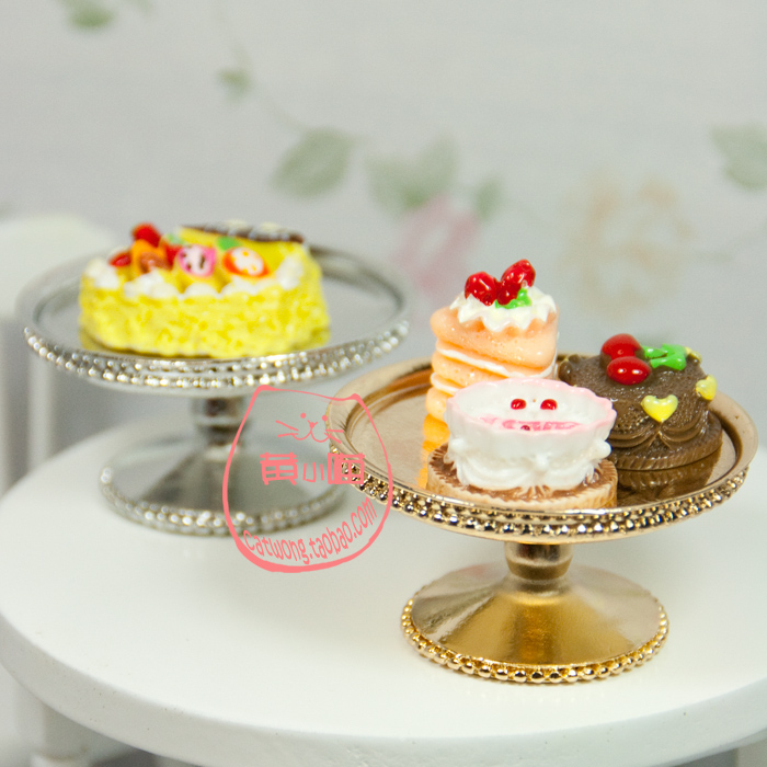 Игрушки для кукольных домиков Сплавы показывают торт десерт блюдо еда Ресторан сцены моделирования мини-модель 1:12dollhouse
