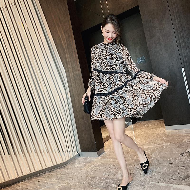 巴掌家欧洲站雪纺豹纹连衣裙女装夏季2019新款时尚夏装流行裙子潮