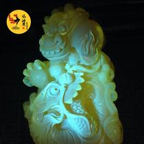 天然乌克兰鸡油黄蜜蜡双龙戏珠雕件 琥珀原石摆件饰品克重120.39g