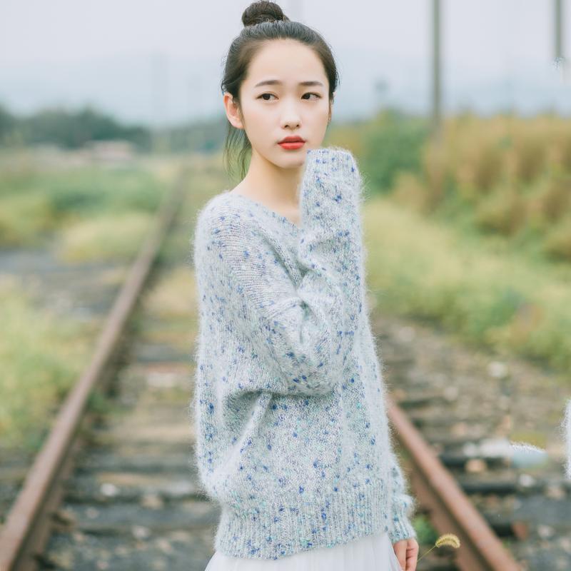 梅子熟了 2016秋季新款 文艺复古长袖花线毛衣 清新套头上衣女