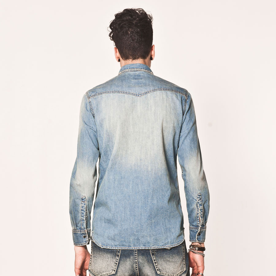 Lilbetter Bleached Discolored Collared Single Breasted Denim Long Sleeve Men Casual Shirt
