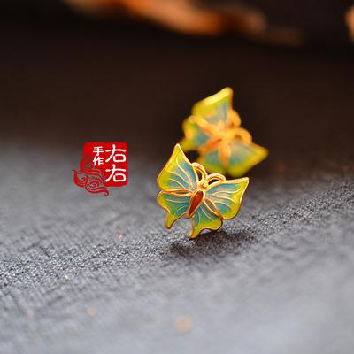 925纯银鎏金蝴蝶珐琅景泰蓝烧蓝古典古风银耳钉耳饰配礼盒包邮
