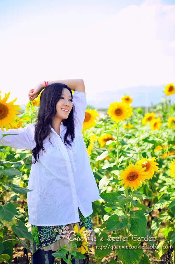 женская рубашка Cookie's secret garden Cookie's Sceret Garden Повседневный стиль Однотонный цвет Оборка, Смешанные ткани, Складки, Складки, Асимметрия, Волны О-вырез