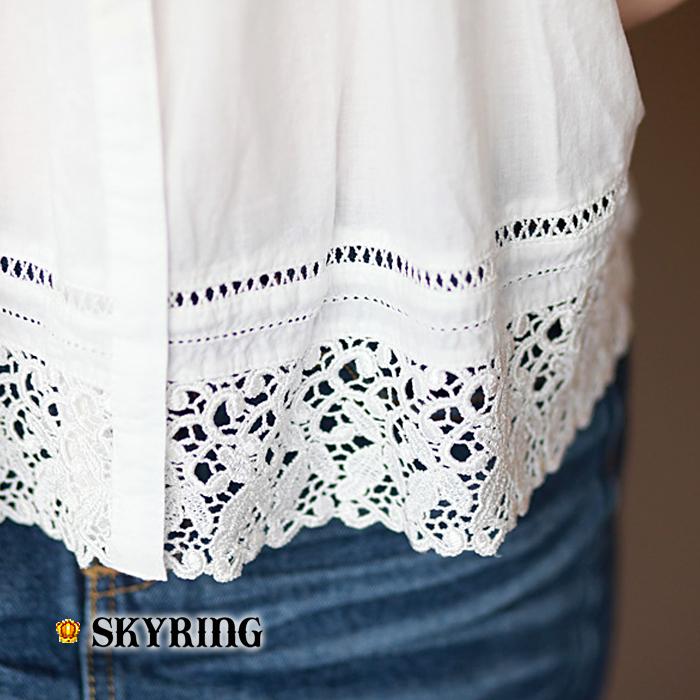 женская рубашка SKYRING 361002 [176g] Стиль Рукав 3/4 Однотонный цвет Лето 2012 О-вырез Другой тип застёжки