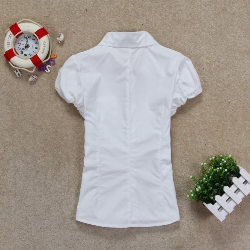женская рубашка ENHOT 509 55 Casual Короткий рукав Однотонный цвет Лето 2012 Складки Отложной воротник Один ряд пуговиц