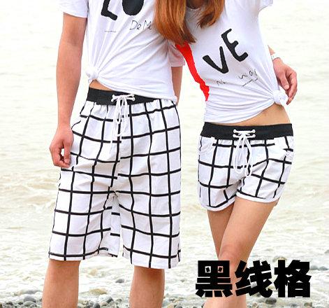 무료 배송 여름 한국 한국어 커플 비치 바지 여성 속건성 간결 남자 의 우연한 바지 XL 의 다섯 번째