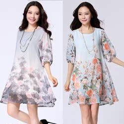 2016新款孕妇装夏装连衣裙韩版加大码雪纺宽松中长款孕妇裙夏