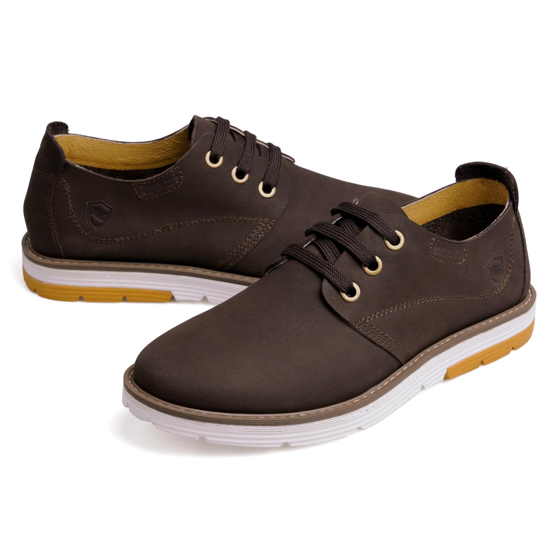 Демисезонные ботинки Auxtun 090 Обувь на тонкой подошве ( для скейтборда ) Для отдыха Верхний слой из натуральной кожи Круглый носок Шнурок Весна и осень