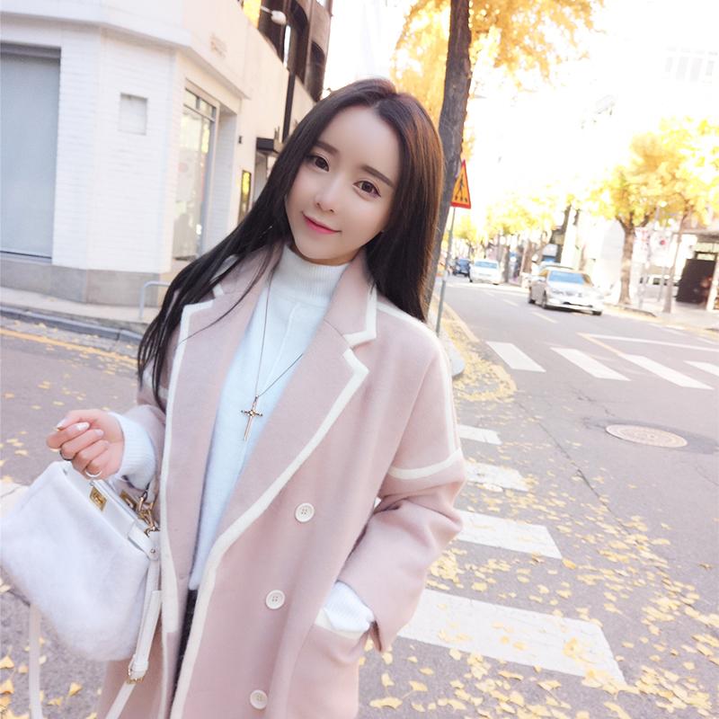 小鹿要飞韩版宽松翻领双排扣白色边粉色毛呢外套女中长款呢子大衣