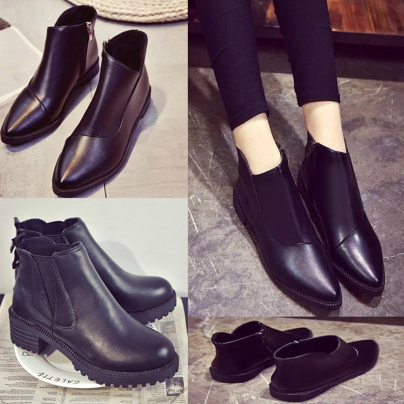 秋冬韩版流苏女鞋马丁靴女靴裸靴子尖头切尔西短靴骑士英伦风平跟