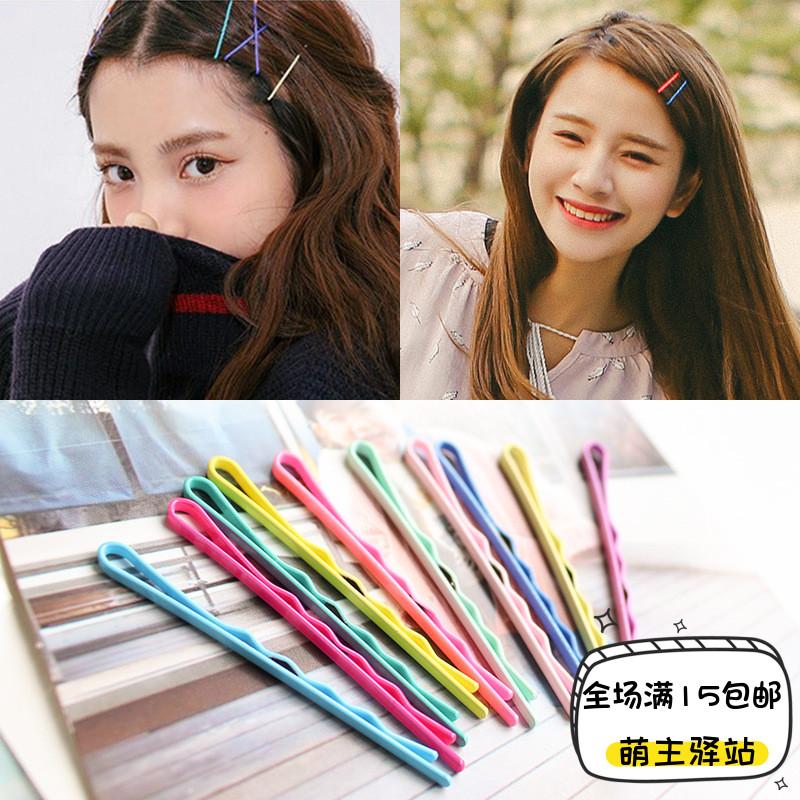 韩国饰品 可爱边夹糖果钢夹铁丝夹马卡龙刘海彩色一字夹波浪顶夹
