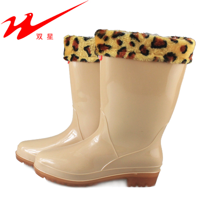 Women-in-tube water shoes binary TH-219 female models wellies rain boots slip resistant color containing cotton intercropping