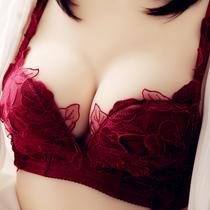 【送内裤】本命年酒红色性感聚拢刺绣文胸无钢圈秋冬加厚内衣胸罩