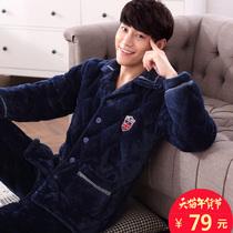 秋冬季珊瑚绒夹棉睡衣男士三层加厚加绒法兰绒冬天保暖家居服套装