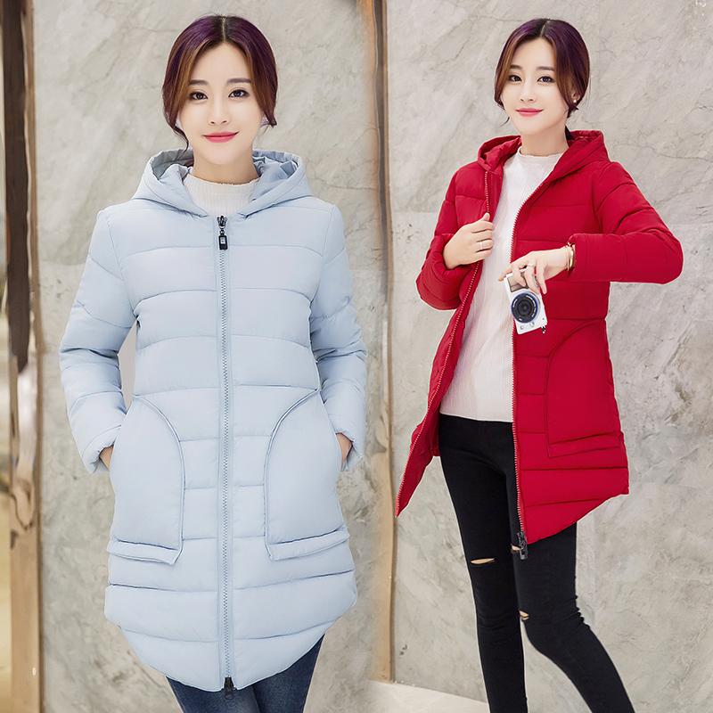 冬季新款羽绒棉服女装外套加厚韩版修身学生棉衣女中长款棉袄冬装