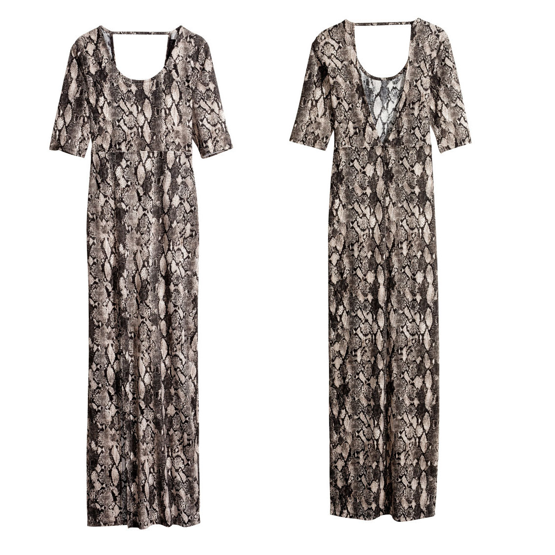 2014 snakeskin pattern knit fifth after unilateral high-slit sleeve V- neck dress haoduoyi open lower shipping