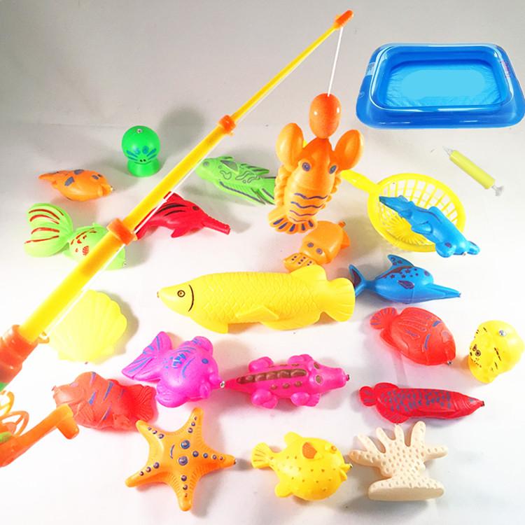 儿童钓鱼玩具双面磁性套装益智戏水池家用塑料磁铁竿包邮