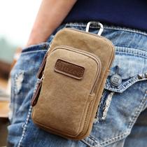 牧之逸 5.5寸手机包男穿皮带腰包休闲帆布胸包多功能运动挂包小包
