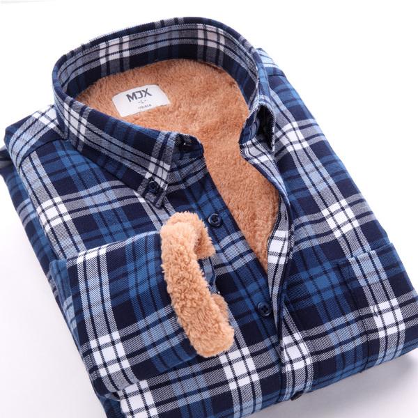 MJX2014 warm autumn and winter men shirt plus thick velvet shirt men winter men's plaid shirt men long-sleeved shirt