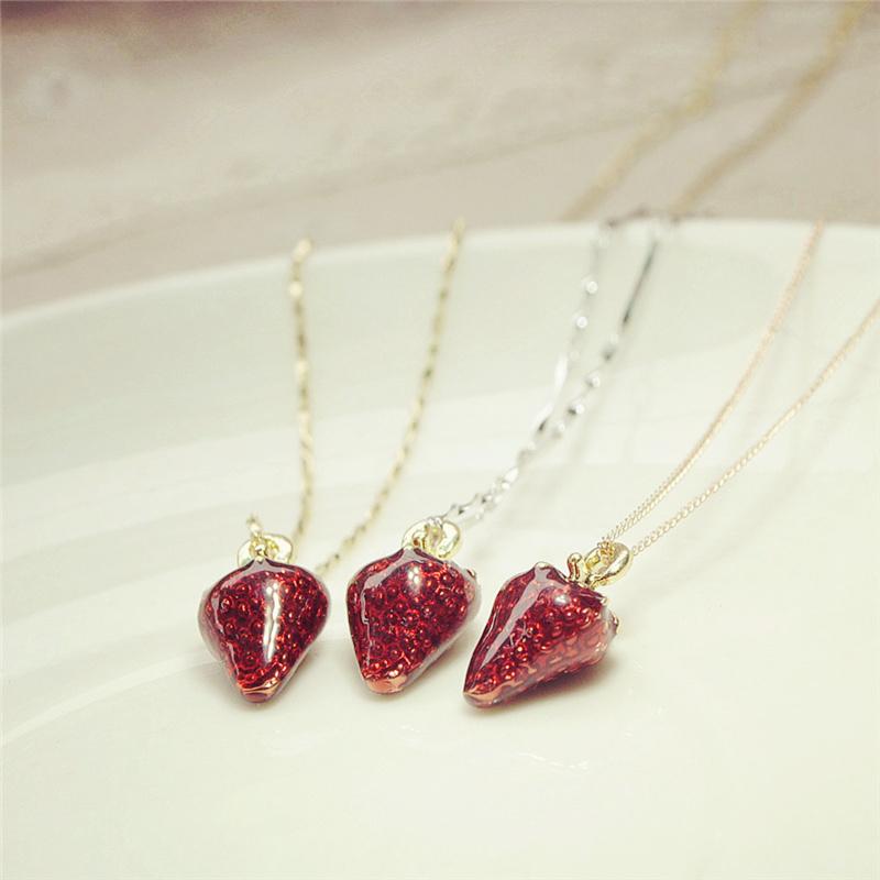 925纯银可爱草莓锁骨项链