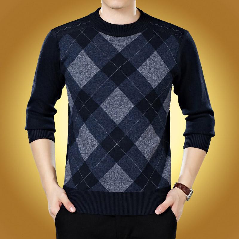 中年羊毛衫男圆领加厚中老年男大码套头保暖针织衫男装爸爸装毛衣
