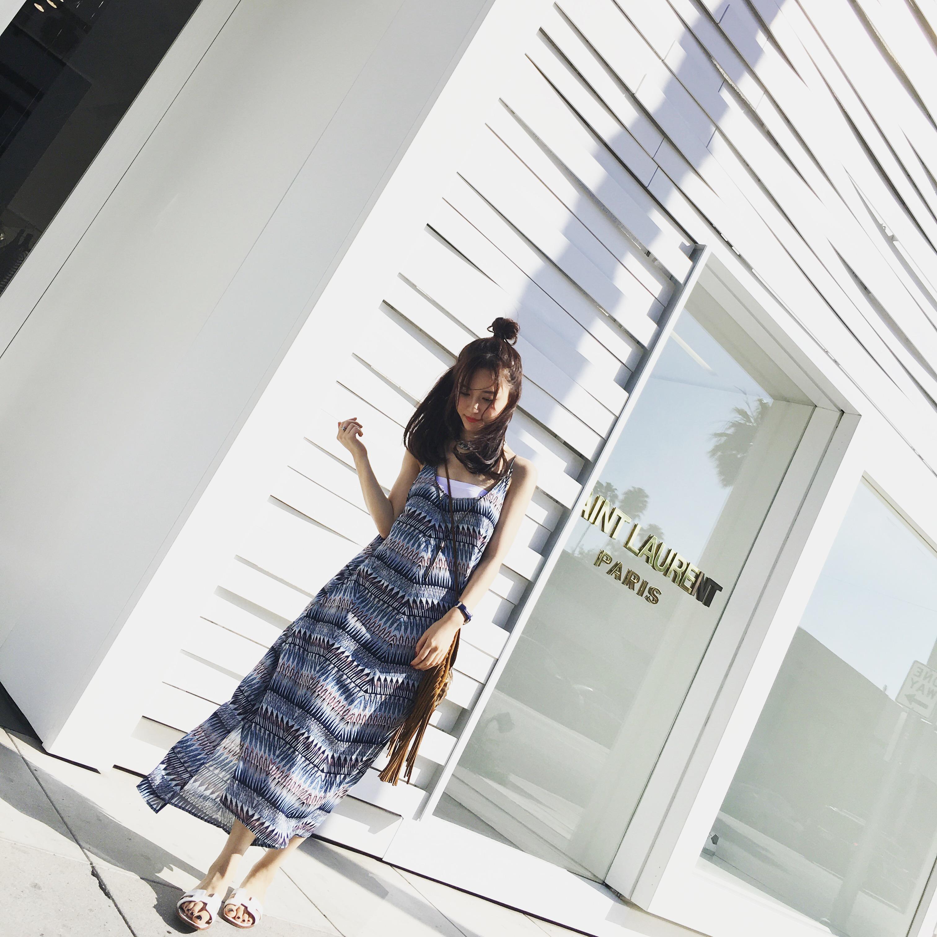 【钱夫人】CHINSTUDIO夏季新款显瘦民族风度假吊带无袖连衣裙女