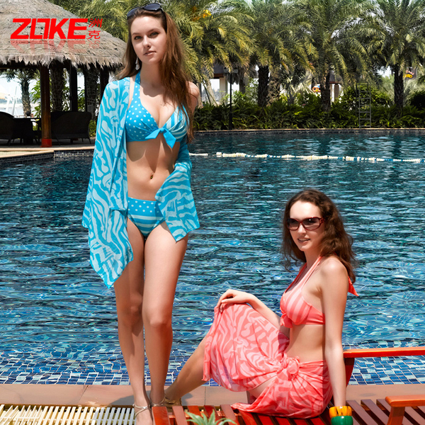 Three-piece bikini swimsuit hot springs female swimsuit small chest big chest gather steel prop ultra-thin BIKINI swimwear