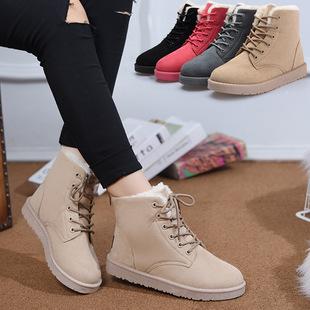 2016冬季新款保暖雪地靴 平底短靴 学生加绒加厚短筒磨砂系带棉鞋