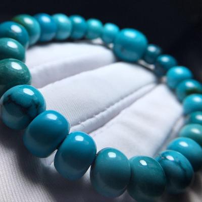 高瓷原矿纯天然绿松石原石毛料散珠隔珠隔片圆珠桶珠戒面手串三通