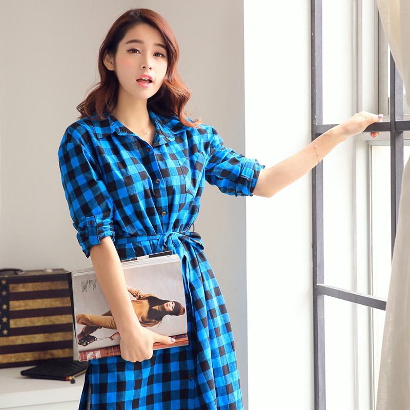 Осенью 2014 года новой корейской версии плюс размер Женская одежда Арт ретро плед длинные loose хлопка платье рубашка