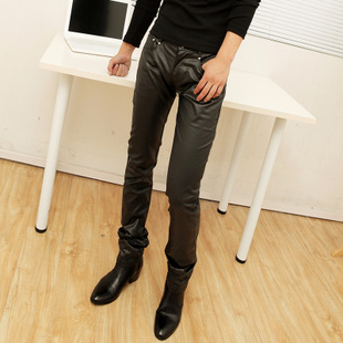 001 Casual Solid Zipper Slim Artificial Leather Mens Pants