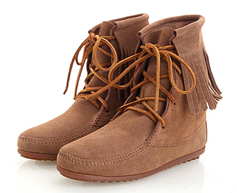 Женские сапоги United States Thangka fringed boots 422 Весна 2013 Короткие сапоги Шнуровка спереди