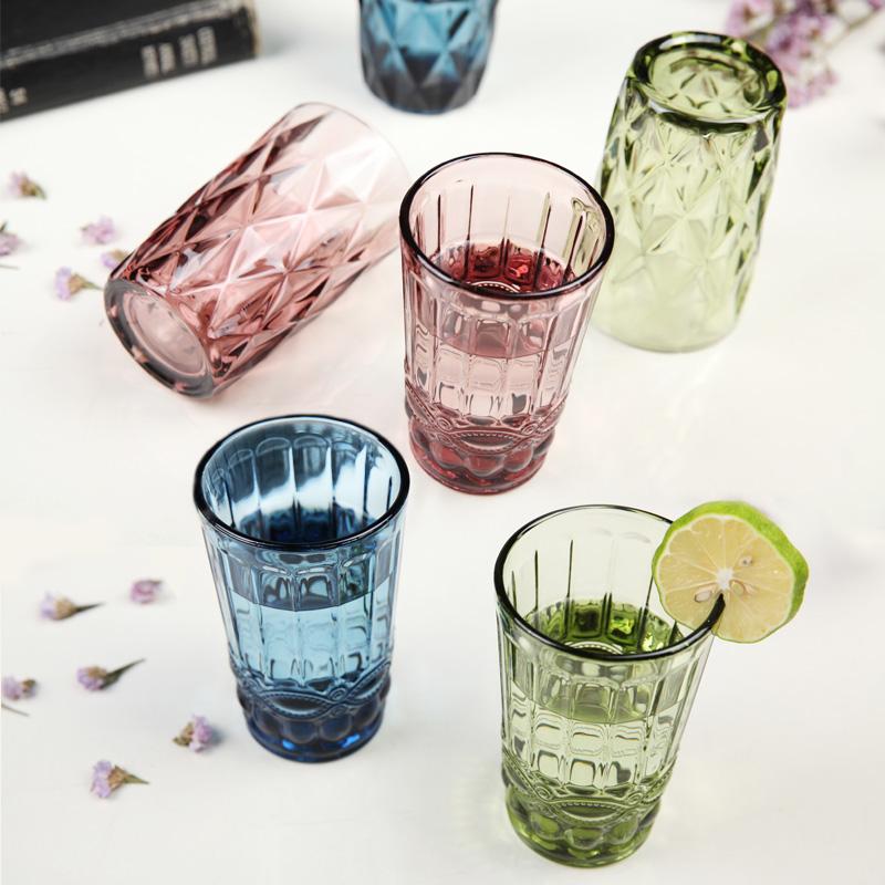 【今日必抢】创意复古浮雕彩色玻璃杯加厚家用喝水杯子透明情侣杯