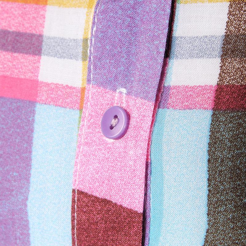 женская рубашка Thinking positive sy00100 59 M.S2012 Городской стиль Укороченный рукав,рукав средней длины В клетку Лето 2011 Закругленный вырез Один ряд пуговиц