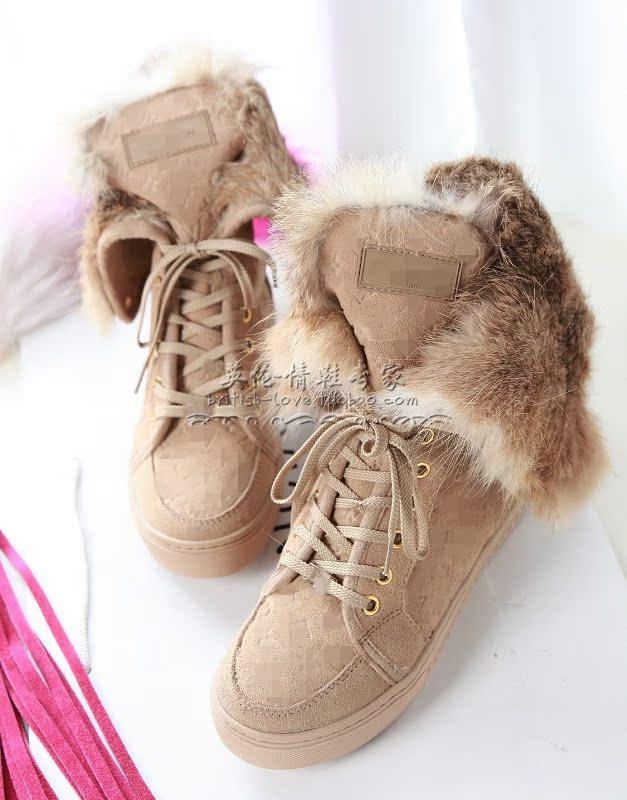 Новые короткие двойственный ботинок водонепроницаемый снега сапоги в дикий кролик шерсть изолированные ботинки платформы рост девушки