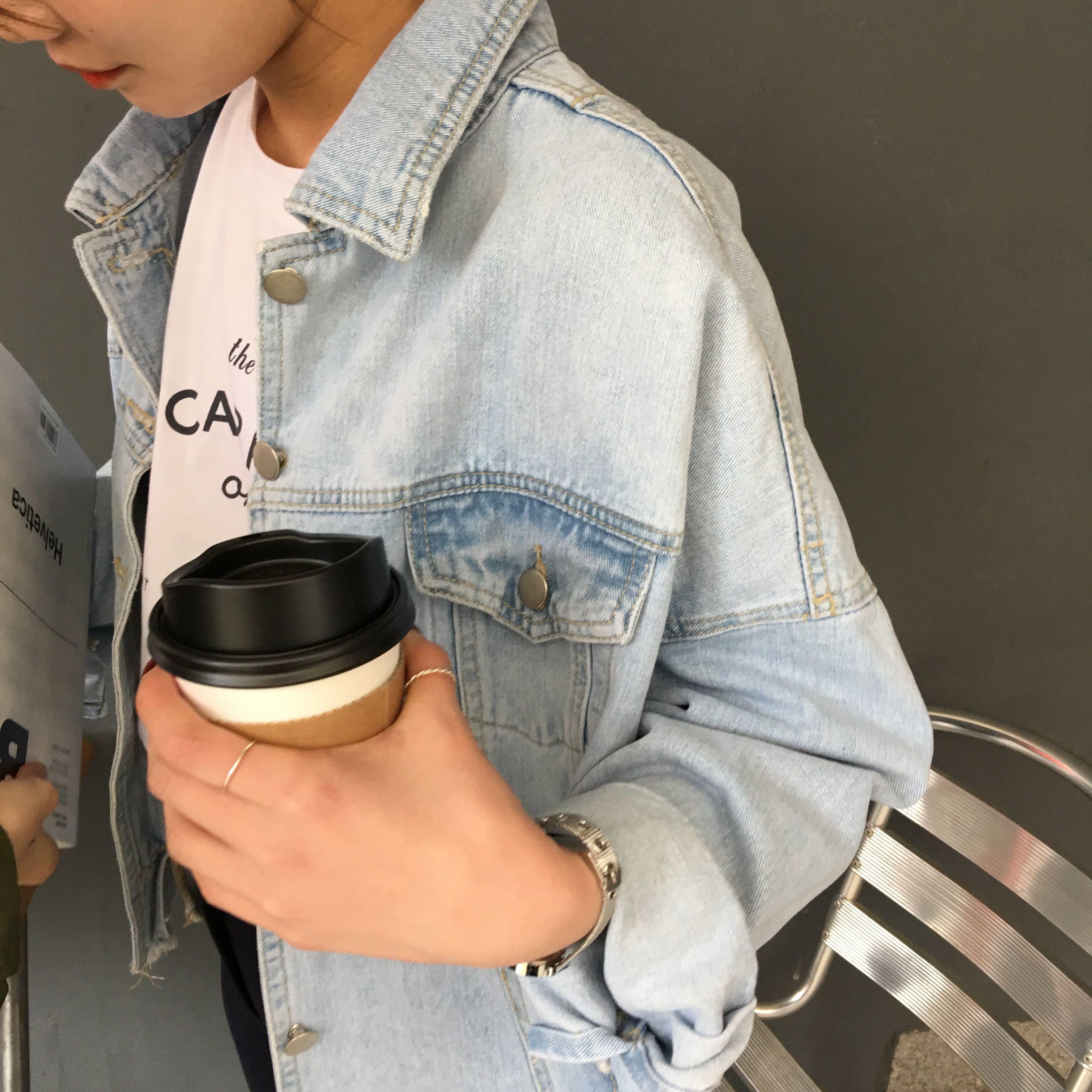 自制推荐chic潮流街拍不规则撕边牛仔外套做旧口袋翻领春装女开衫