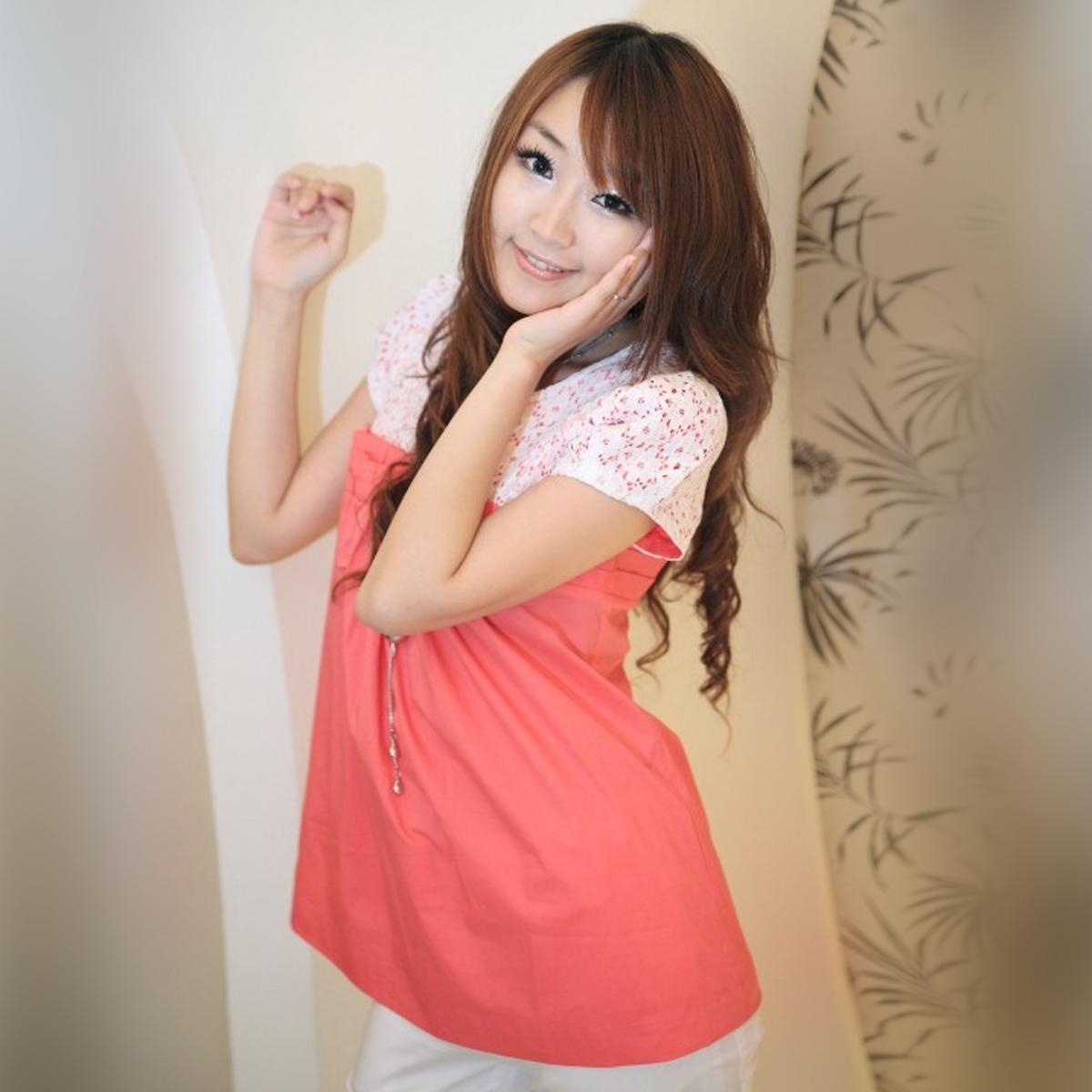 женская рубашка OSA sc90501 O.SA Casual Короткий рукав Однотонный цвет Закругленный вырез