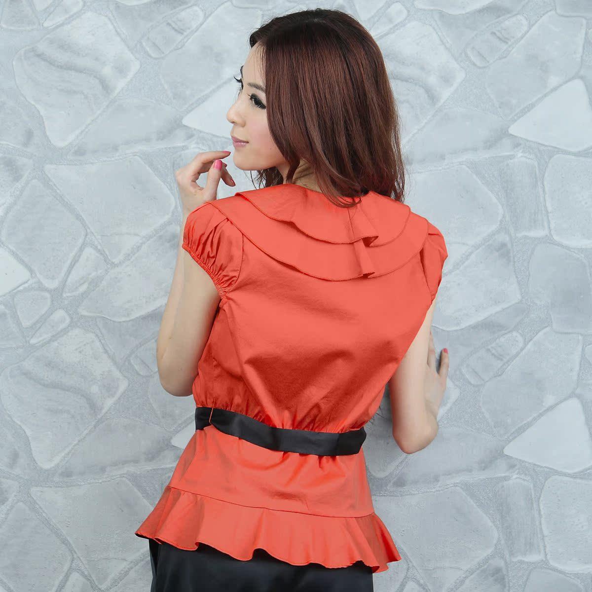 женская рубашка OSA sc00220 OSA2011 C00220 Повседневный Короткий рукав Однотонный цвет Оборка Двухслойный воротник