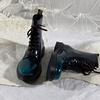 莲花府邸冬季短靴欧美马丁靴时尚系带短筒女靴百搭英伦骑士靴