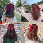 韩国ins红色大蝴蝶结发夹后脑勺超仙发卡头饰发绳女网红发带发圈