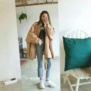 韩国2018春秋季学生宽松百搭BF中长款工装外套风衣夹克女薄潮