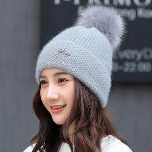 帽子女秋冬天加绒加厚保暖帽可爱学生护耳套头帽兔毛针织毛线帽女
