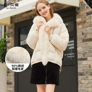 羽绒服女短款2018冬季时尚小个子白色皮草外套狐狸毛领派克服