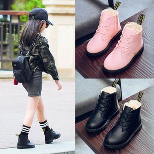 童鞋女童靴子2018秋冬季公主马丁靴小女孩短靴加绒儿童雪地靴