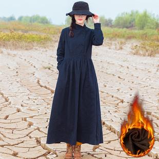 文艺复古纯色棉麻保暖连衣裙女加绒加厚长袖长裙显瘦包扣秋冬