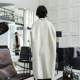 2018秋冬双面羊绒大衣女中长款赫本风宽松羊羔毛白色毛呢外套
