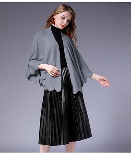 宽松披肩短款外套 2018秋装女装大码斗篷夹克上衣