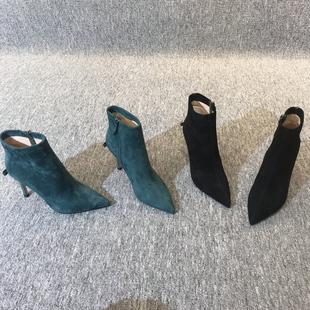 欧洲站女鞋2018秋欧货真皮磨砂蝴蝶结尖头高跟细跟马丁靴短靴