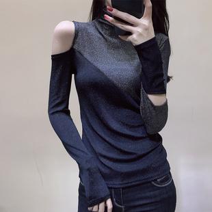 欧洲站2019春装欧货黑色高领打底衫女加厚拼接露肩T恤女长袖