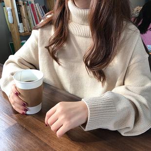 秋冬女装宽松加厚纯色高领慵懒风网红套头针织衫毛衣上衣外套